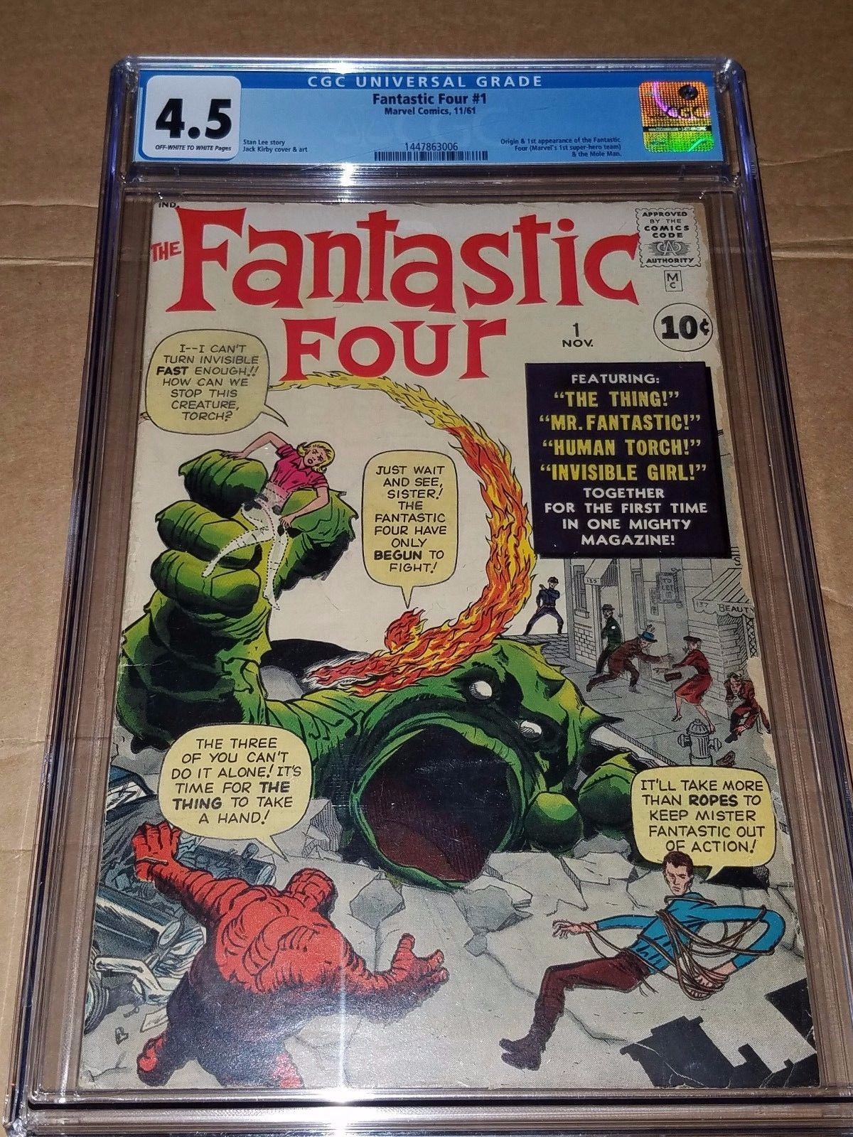 Fantastic Four #1 CGC 4.5 1st Fantastic Four OW/W Pages VG+  Key book Marvel