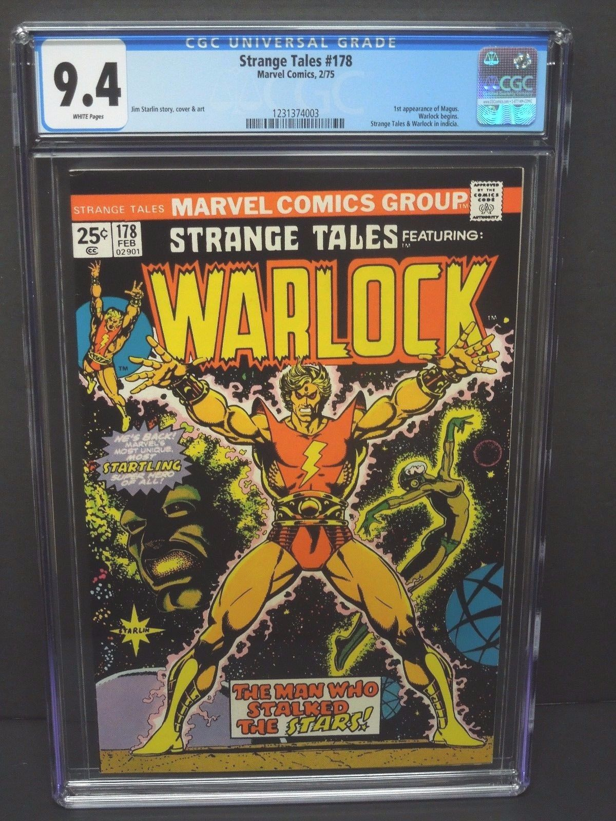 MARVEL COMICS STRANGE TALES #178 1975 CGC 9.4 WHITE PAGES 1st WARLOCK ISSUE