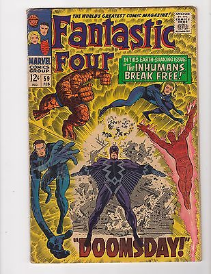 Fantastic Four #59 - First Black Bolt cover app. - 5.0 VG/Fine, High Res Scans
