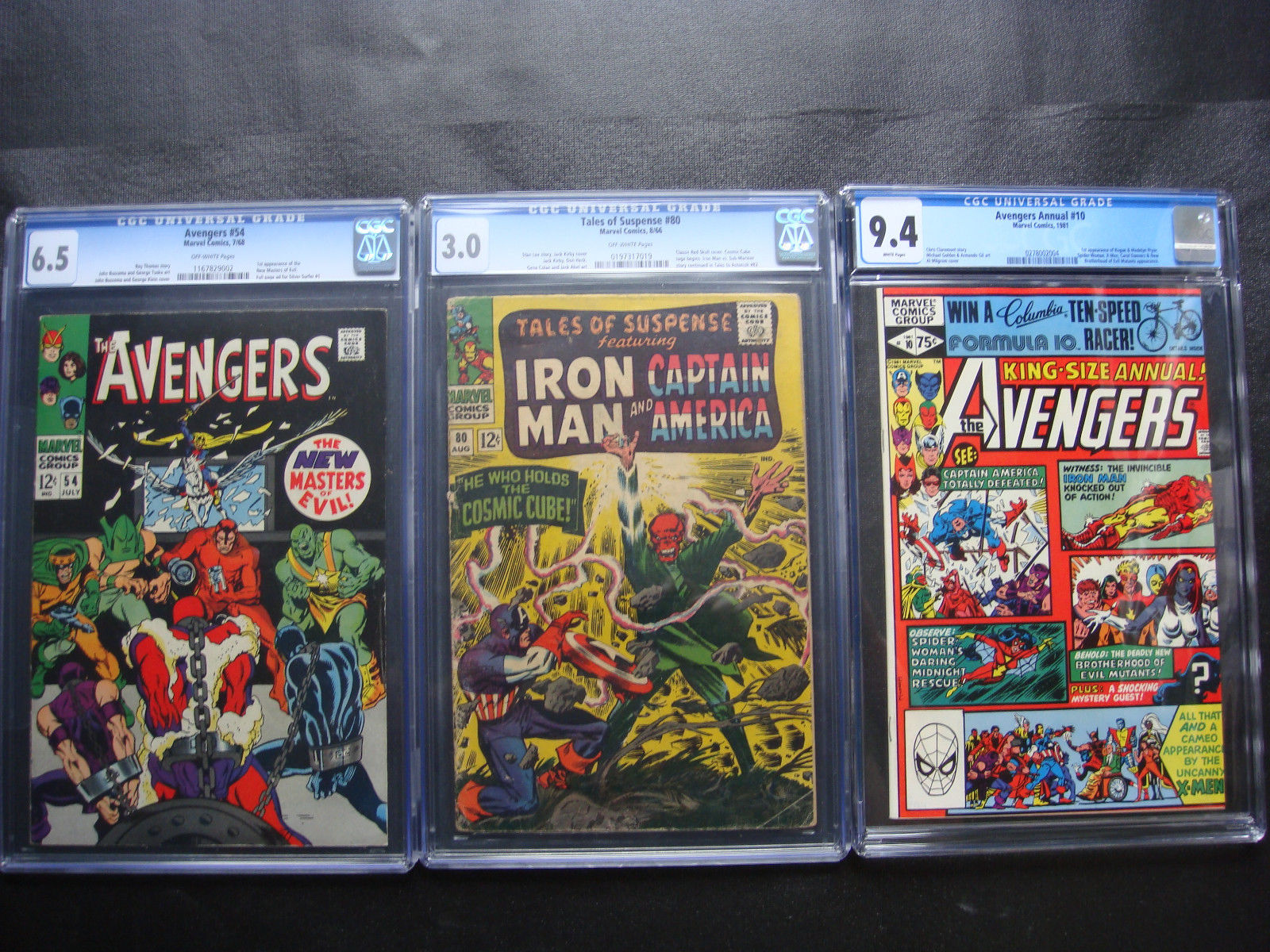 Avengers 54 CGC 6.5 Annual 10 9.4 AND Tales Of Suspense 3.0 3 Book CGC Lot