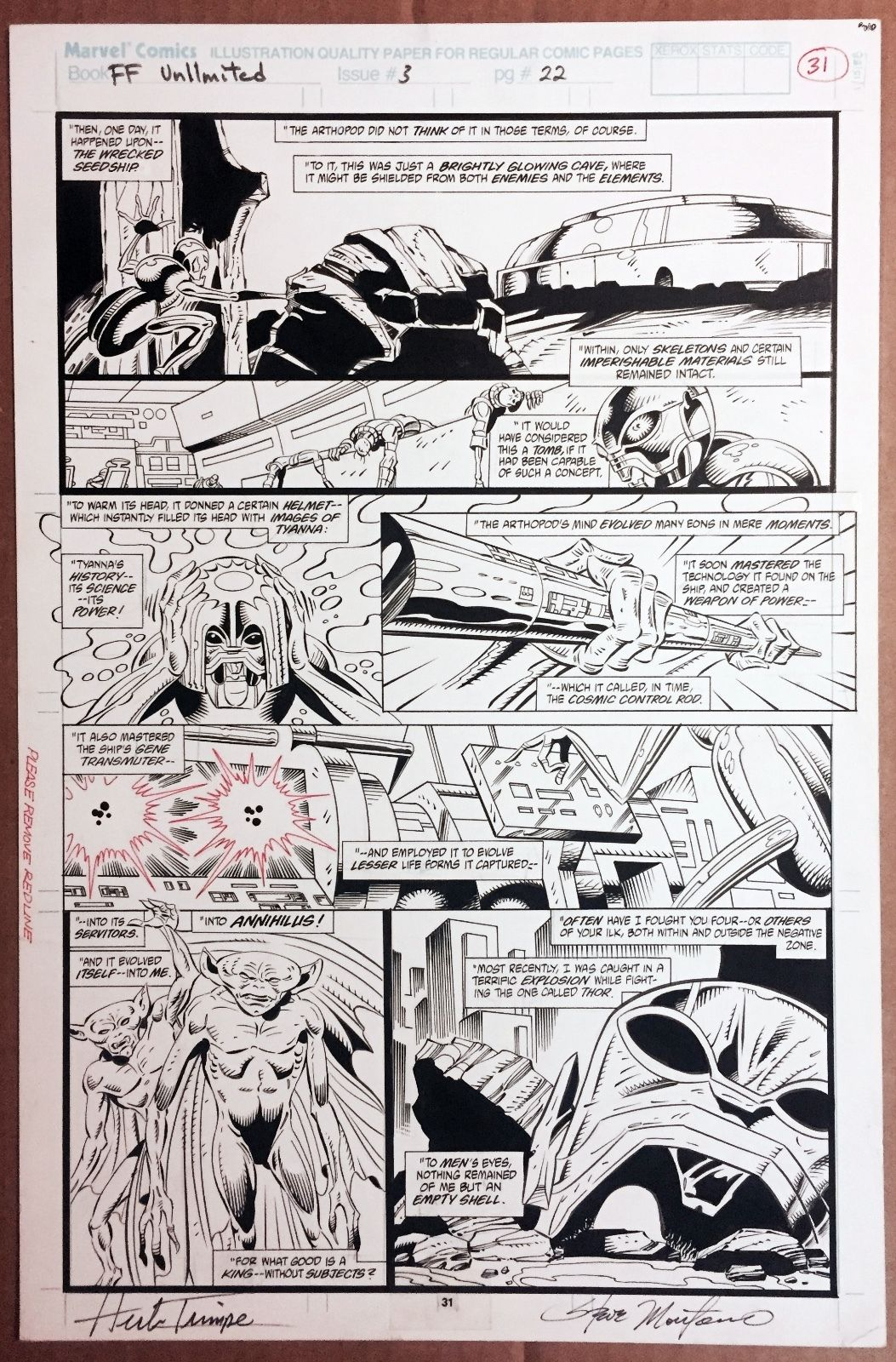 VINTAGE 1993 HERB TRIMPE Fantastic Four Unlimited 3 pg 22 Origin of Annihilus