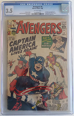AVENGERS  4  CGC 3.5 - 0248996005 - 1st Silver Age appearance Captain America