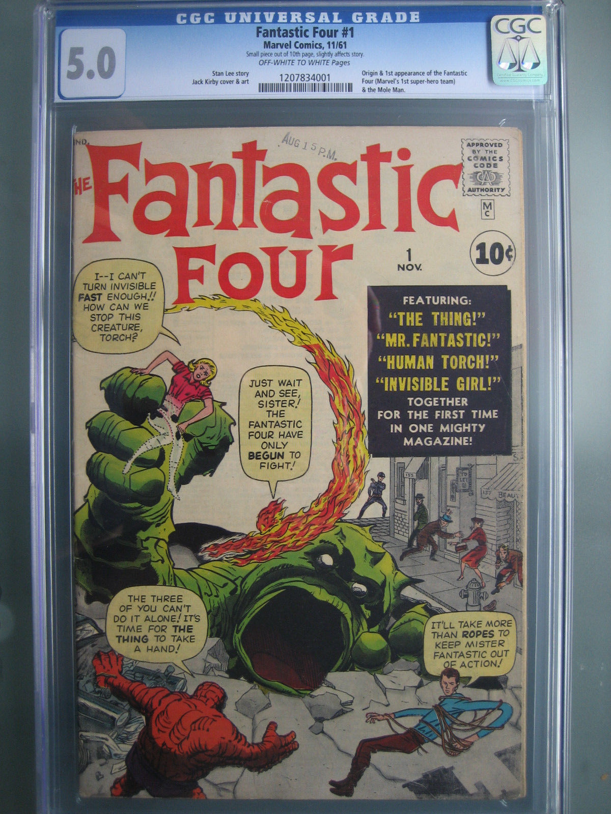 Fantastic Four #1 CGC 5.0 OWW **1st & Origin Fantastic Four** Marvel Comics 1961