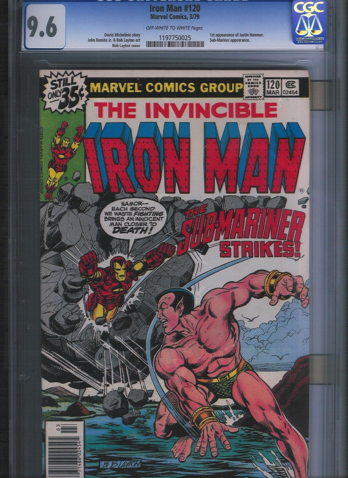 Iron Man # 120 CGC 9.6  Off White to White Pages. UnRestored.