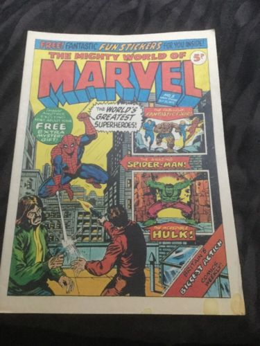 The Mighty World of Marvel #3 Vintage Marvel Comic 1972 With Free Gift