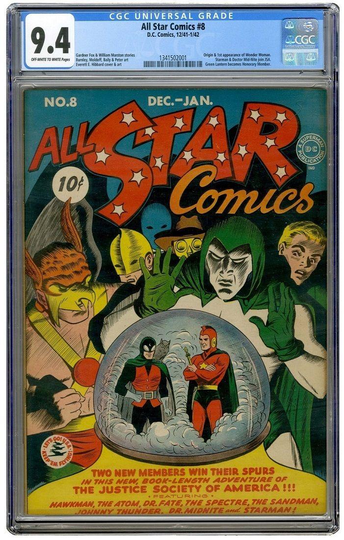 ALL STAR COMICS #8 CGC 9.4 OWW  SINGLE HIGHEST GRADED COPY   CGC #1341502001