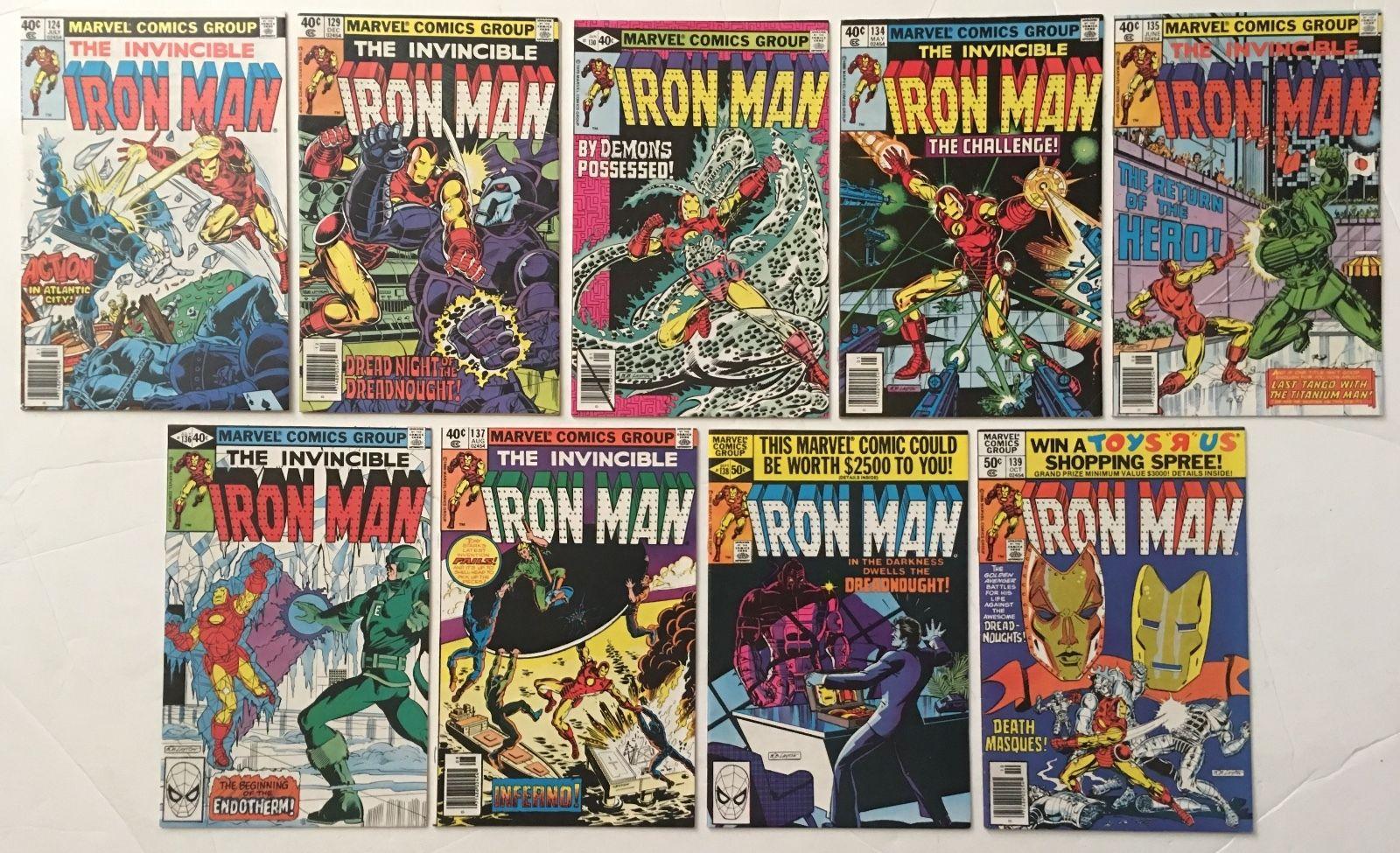 Iron Man # 124 129 130 134 135 136 137 138 139 Lot of 9 Bronze Age Marvel Comics