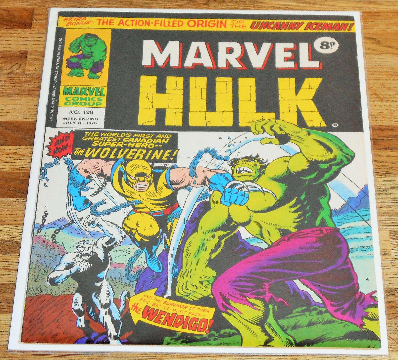 MIGHTY WORLD OF MARVEL 198 1976 1st app WOLVERINE Incredible Hulk 181 high grade