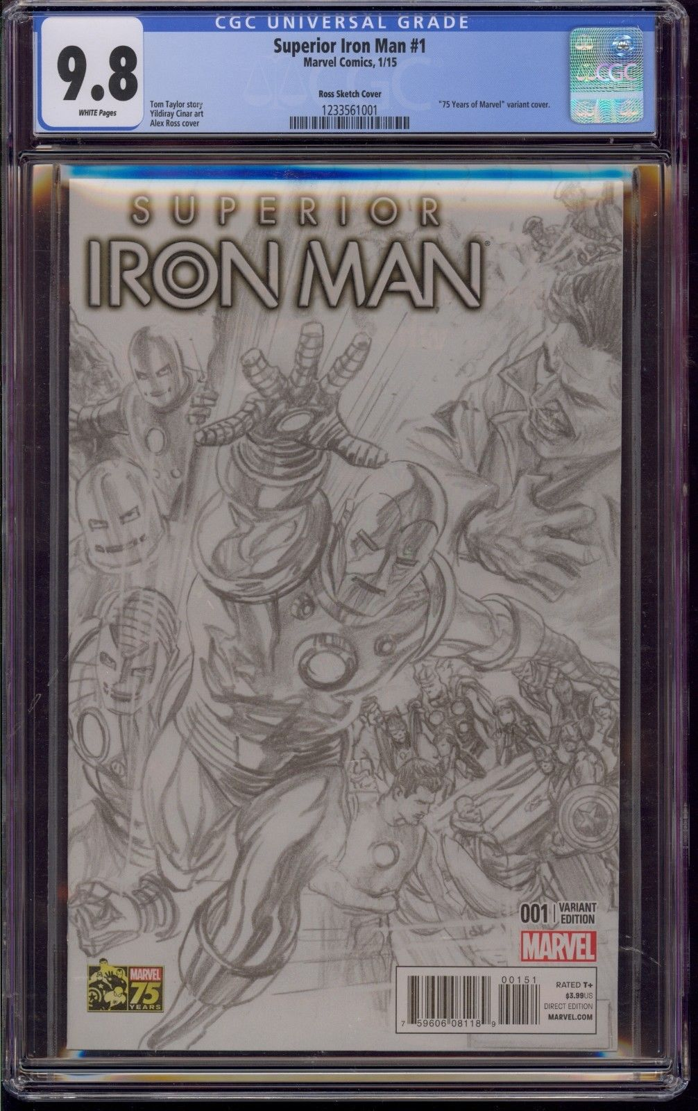SUPERIOR IRON MAN  #1 CGC 9.8 ALEX ROSS 1:300 SKETCH VARIANT  2015  COMIC KINGS