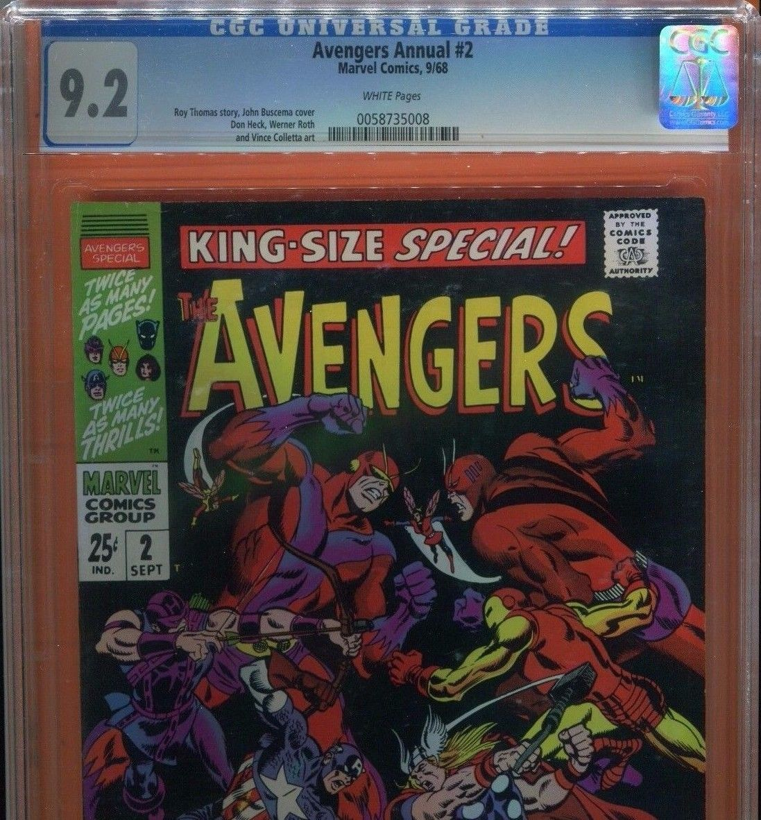Avengers King Size Annual #2 CGC 9.2 - New Avengers vs. the Old Avengers 1968