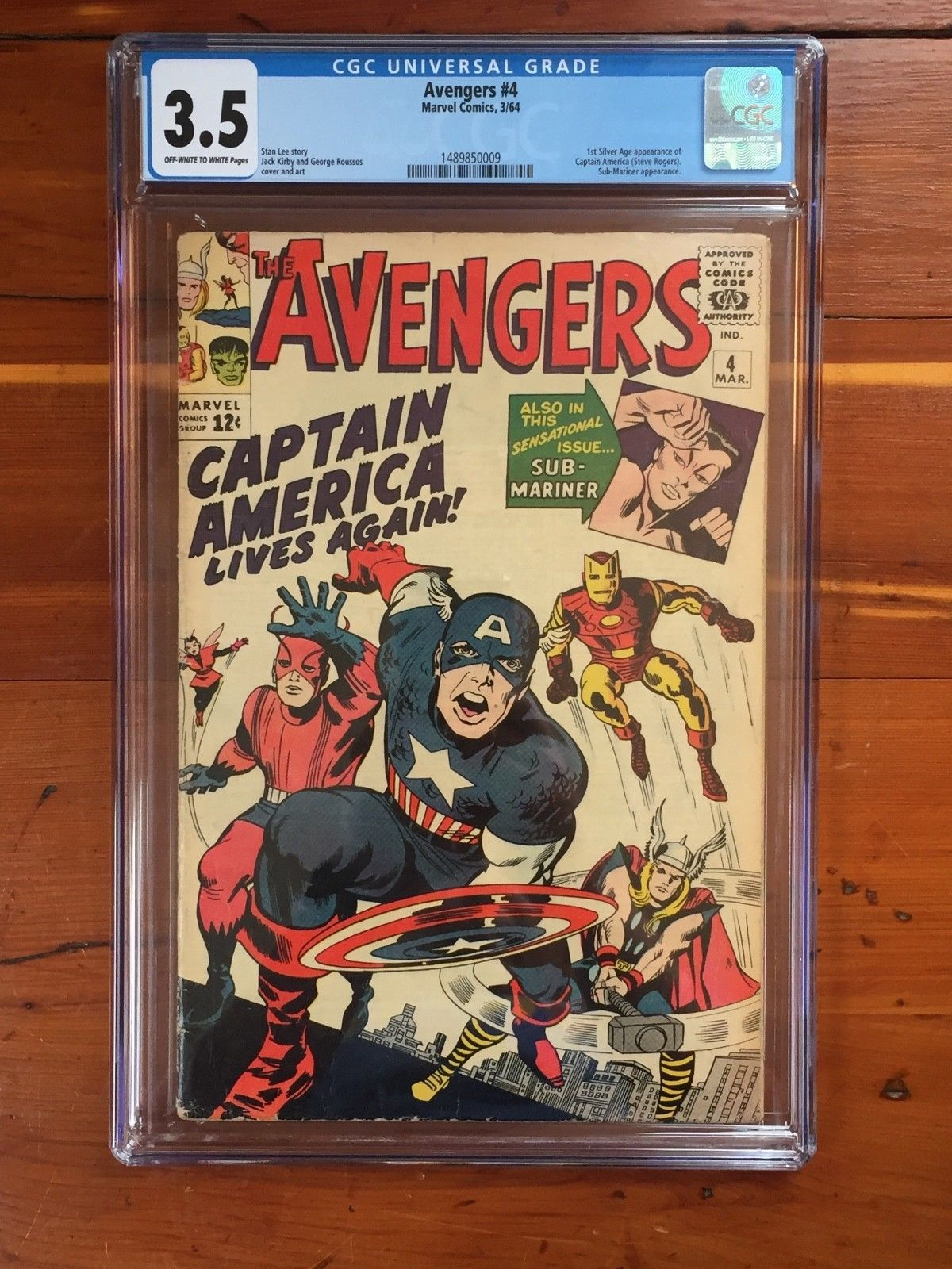 Avengers #4 - CGC 3.5 - 1st Silver Age App of Captain America (1964)