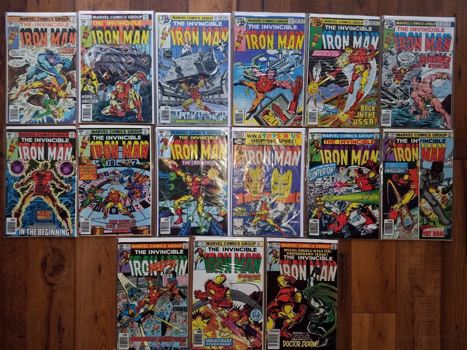 MARVEL COMICS LOT: IRON MAN #91,113,116,118-20,122-3,134,139, MORE (1976-1981)