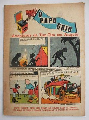 RARE Portuguese Vintage Comics Magazine O PAPAGAIO #219 1939 TINTIN HERGE