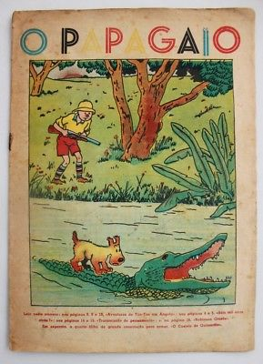 RARE Portuguese Vintage Comics Magazine O PAPAGAIO #215 1939 TINTIN HERGE