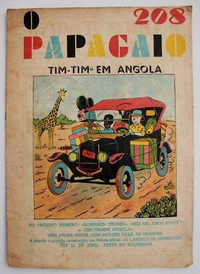 RARE Portuguese Vintage Comics Magazine O PAPAGAIO #208 1939 TINTIN HERGE