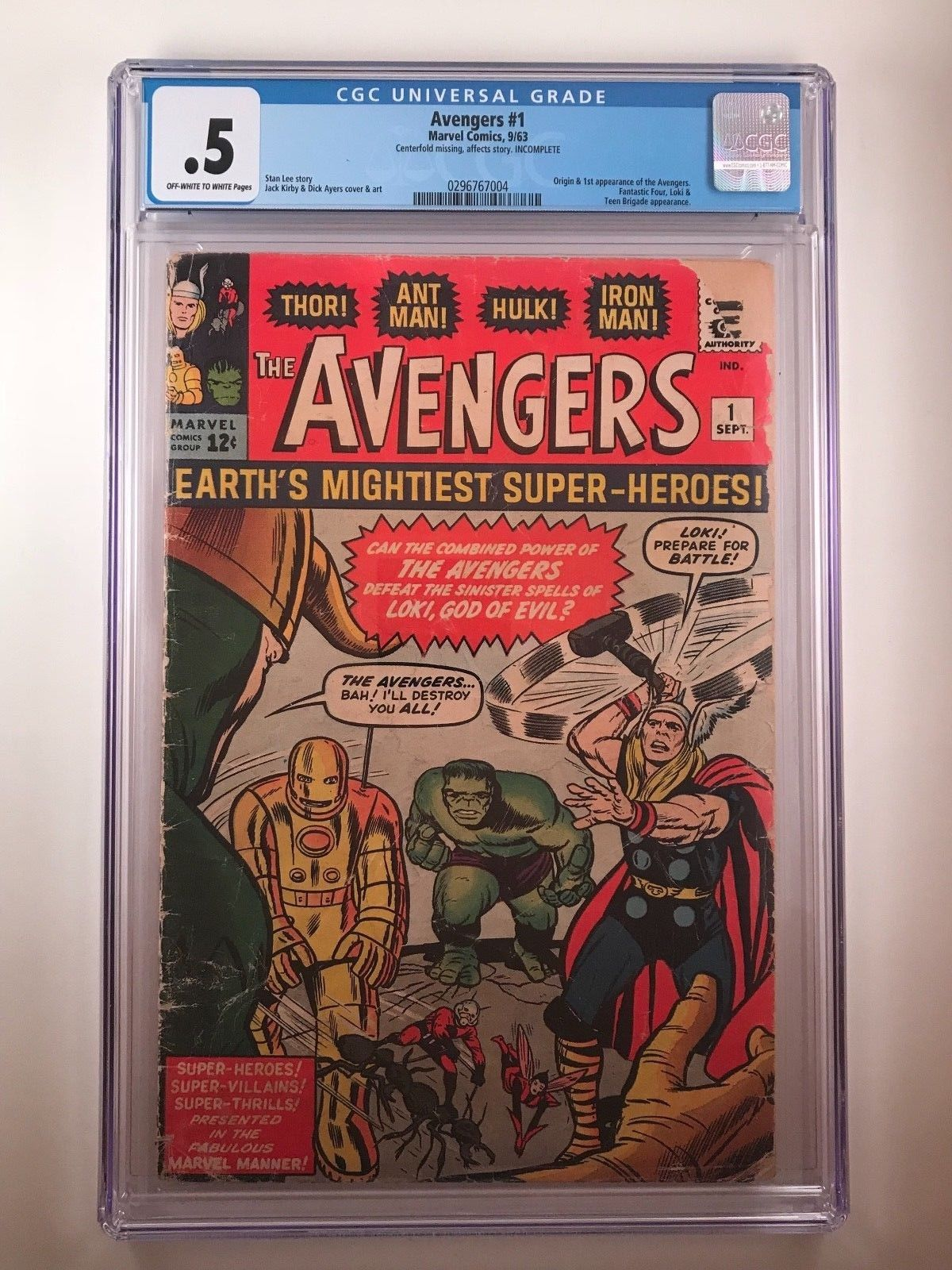 Avengers #1 (Marvel 1963) KEY ISSUE 1st appearance of the Avengers CGC 0.5