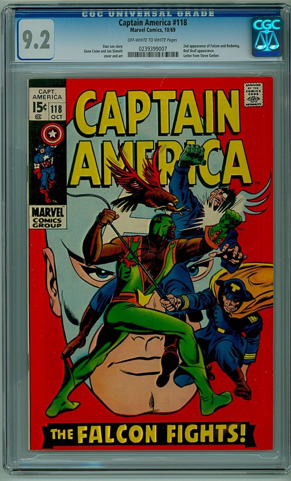 Captain America #118 Marvel 1969 CGC 9.2 NM- 2nd Falcon and Redwing