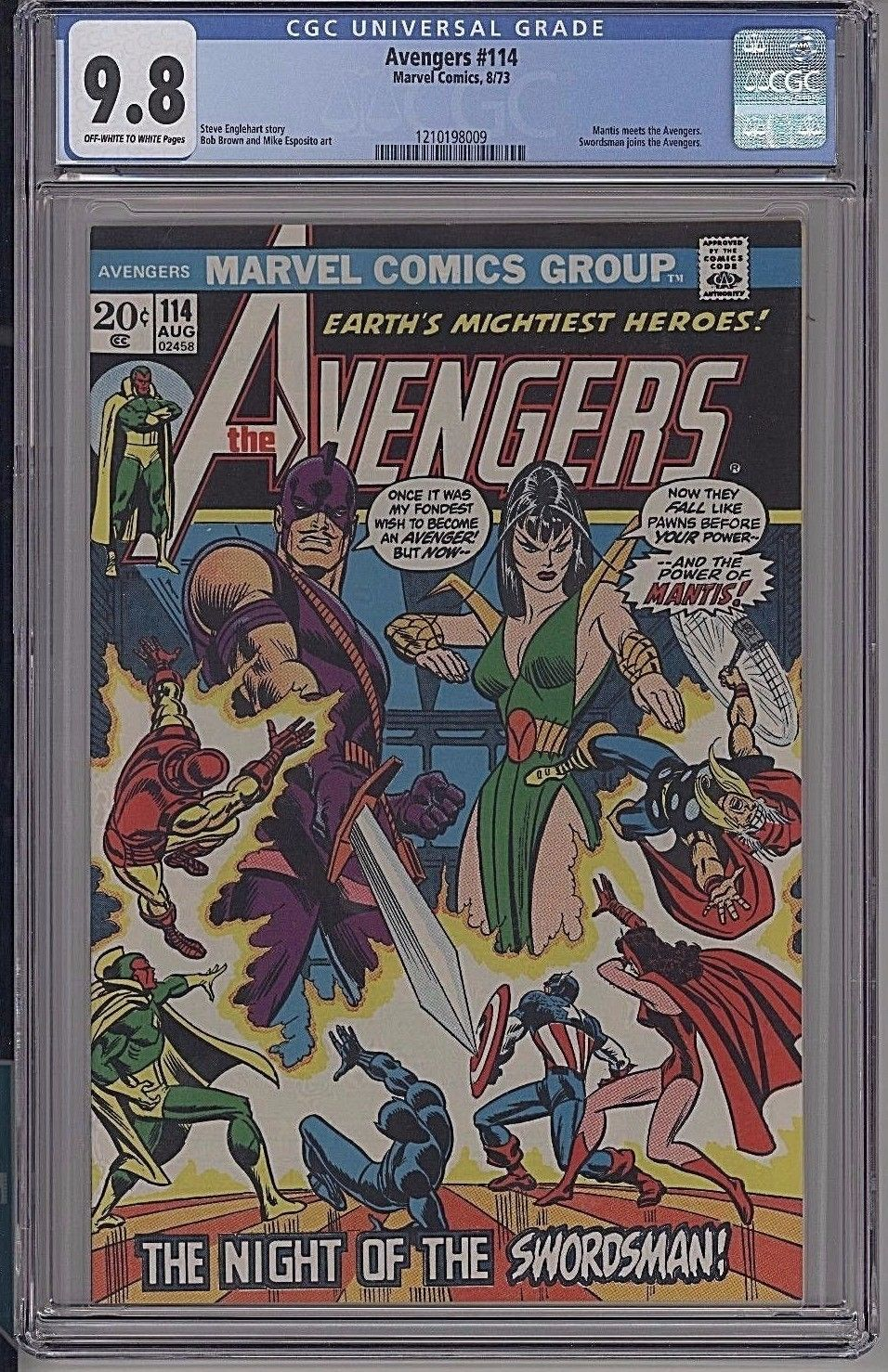 AVENGERS #114 1973 ORIGINAL OWNER HIGH GRADE CGC 9.8 OW-WHITE PAGES