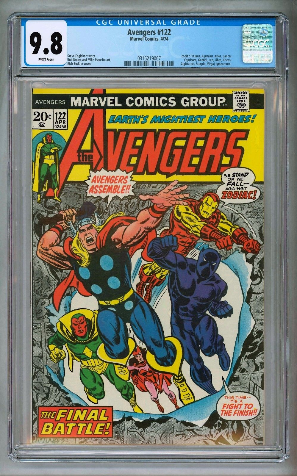 AVENGERS #122 CGC 9.8 WP BLACK PANTHER THOR IRON MAN SCARLET WITCH VISION