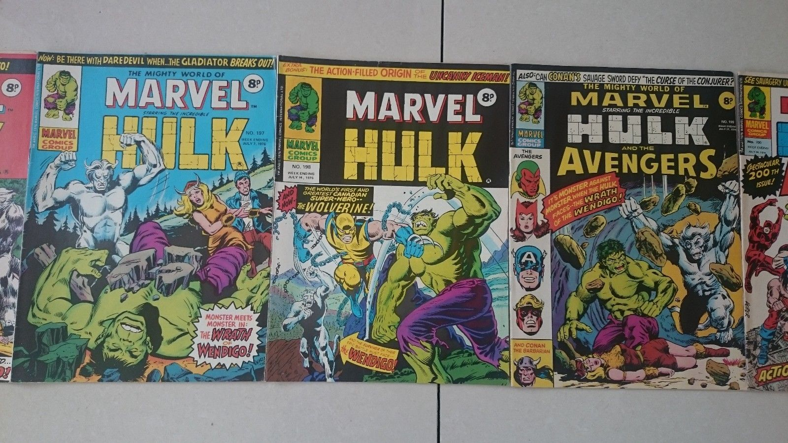 THE MIGHTY WORLD OF MARVEL # 196 # 197 # 198 # 199 # 200  1ST APP WOLVERINE 1976