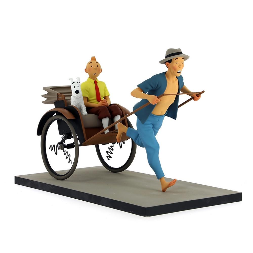 Figurine Moulinsart Fariboles Tintin et Milou dans le pousse-pousse 44021 (2017)