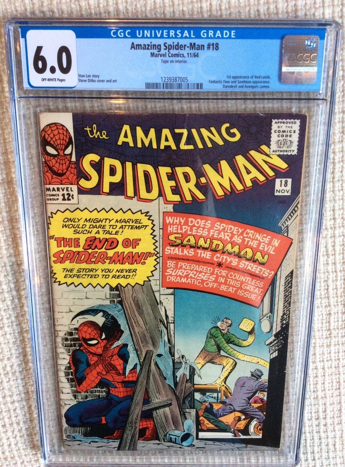 Amazing spider-man # 18 cgc 6.0 Stan Lee 1st Leeds, Avengers Fantastic four,14,4