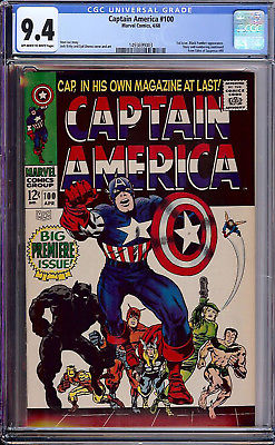Captain America #100 CGC 9.4 1968 1st Issue Avengers Iron Man G11 143 cm SALE