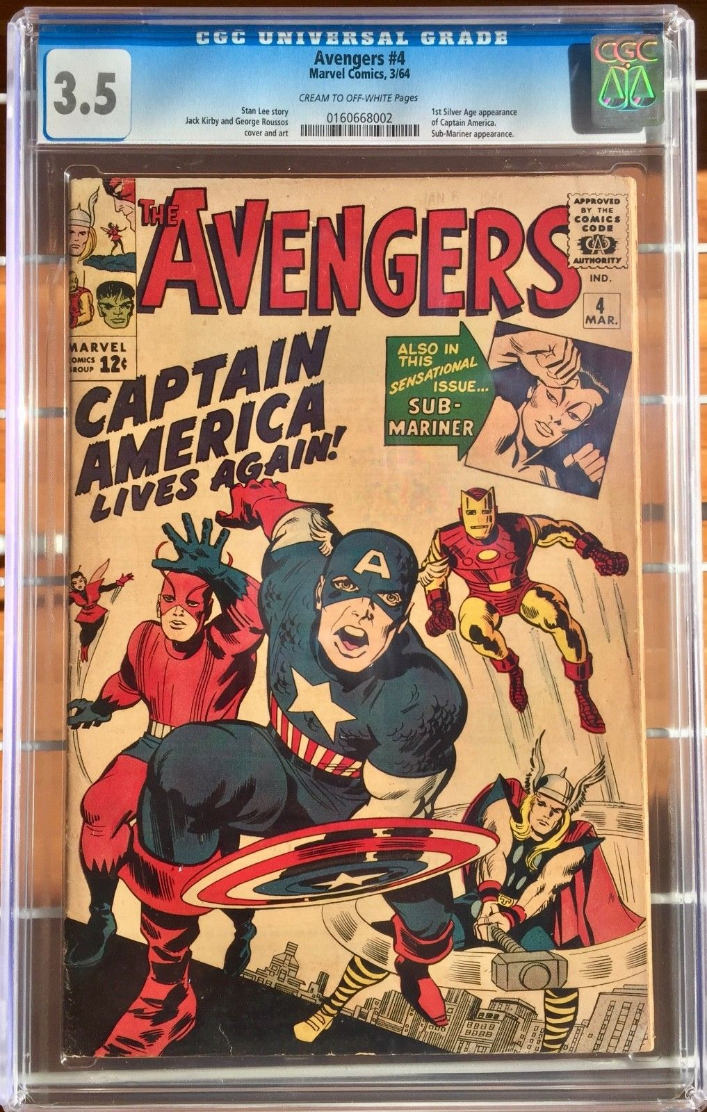 Avengers 4 CGC 3.5 1st Silver Age appearance of Capt. America