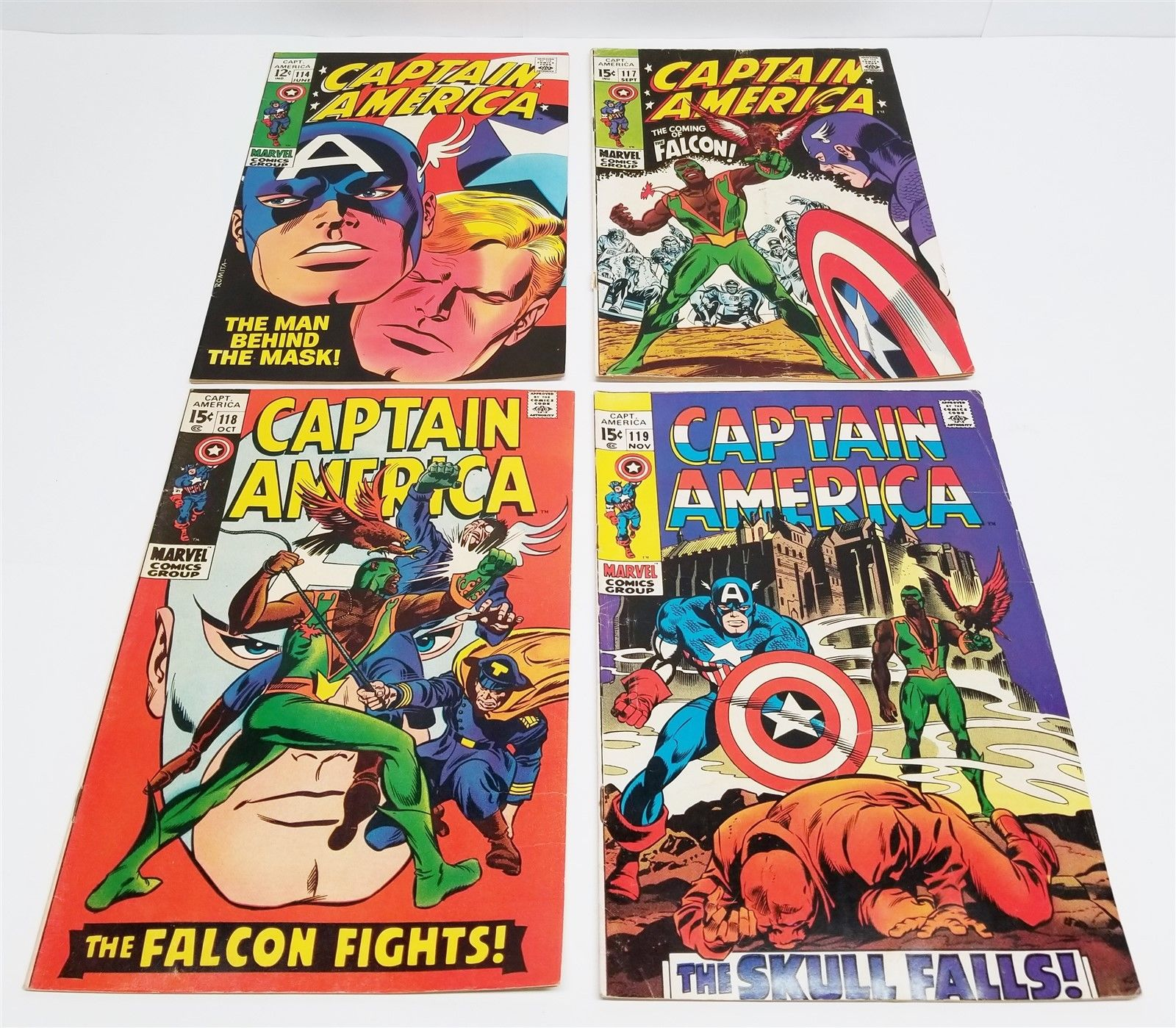 #198 LOT OF 4 60'S MARVEL CAPTAIN AMERICA #114 117 118 119