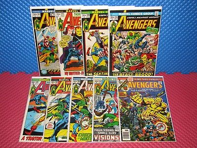 The Avengers Lot of 9 #101-113 + Annual #6 Higher Grade Marvel Cap Iron Man Thor