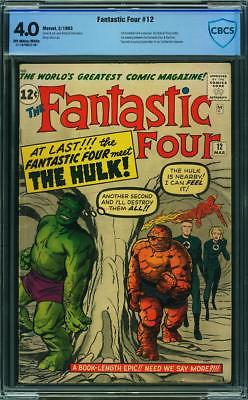FANTASTIC FOUR 12 CGC 4.0 CBCS 1 ST HULK FIGHT OWWP SPIDERMAN AVENGERS