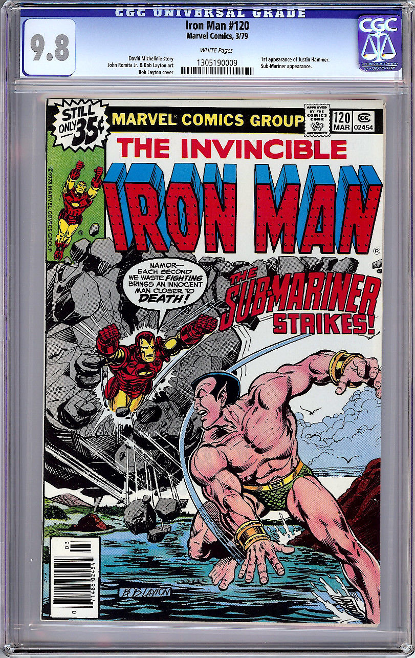 IRON MAN #120 CGC 9.8 WHITE PAGES BATTLE COVER vs SUB-MARINER 1979