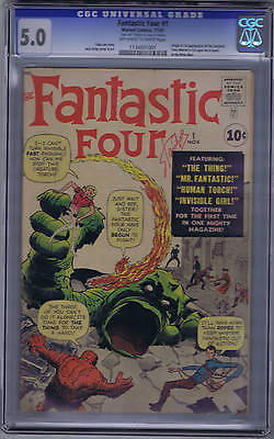 Fantastic Four #1 Marvel 1961 CGC 5.0 (VG/FINE) Origin/1st app Fantastic Four