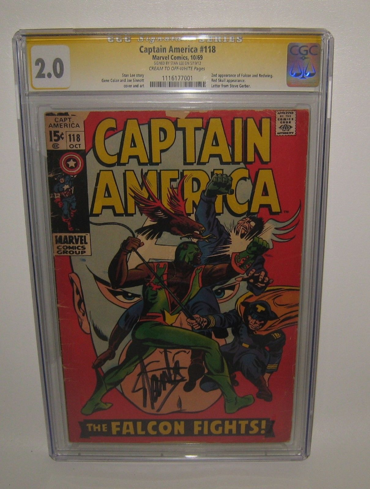 1969 Captain America Comic Book 118 CGC 2.0 Signed by Stan Lee #BD10