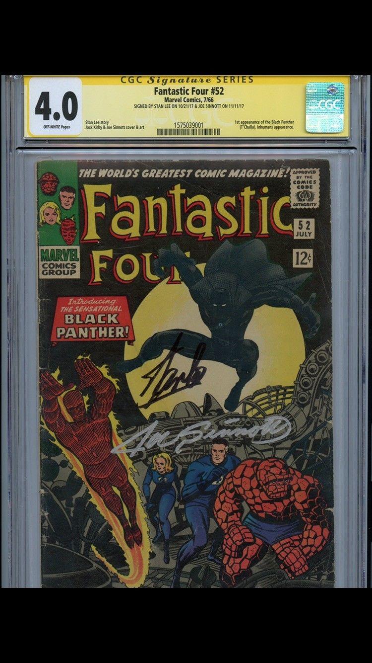 Fantastic Four 52 CGC 4.0 SS Stan Lee & Joe Sinnott black panther 1