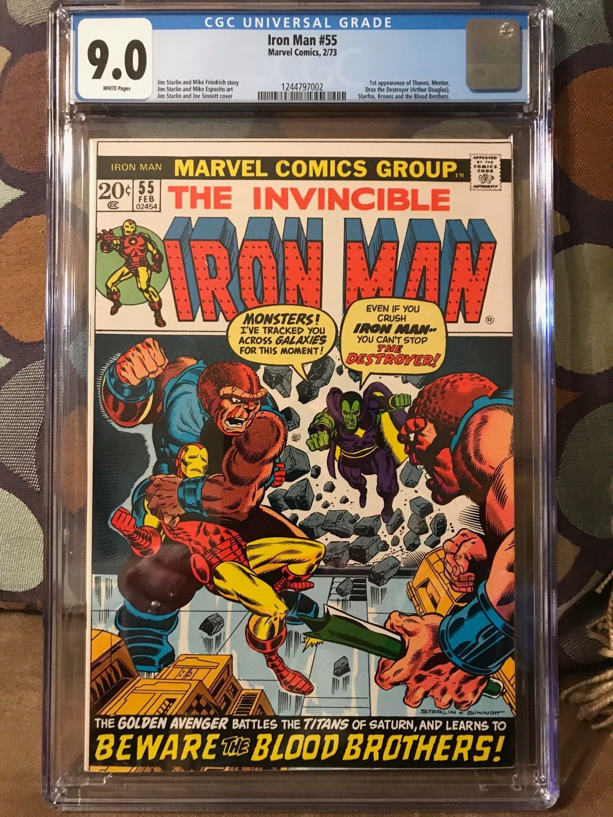 Iron Man #55 CGC 9.0 VF/NM WP 1st Thanos, 1st Drax Avengers Infinity Wars Movie