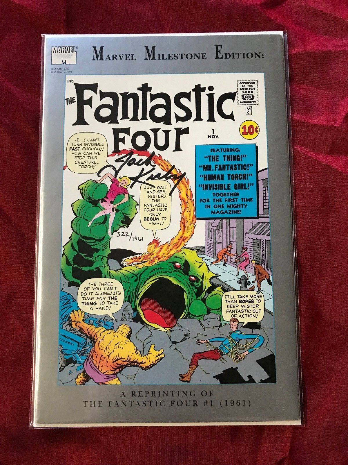 Marvel Milestone Edition Fantastic Four #1 Signed Jack Kirby RARE