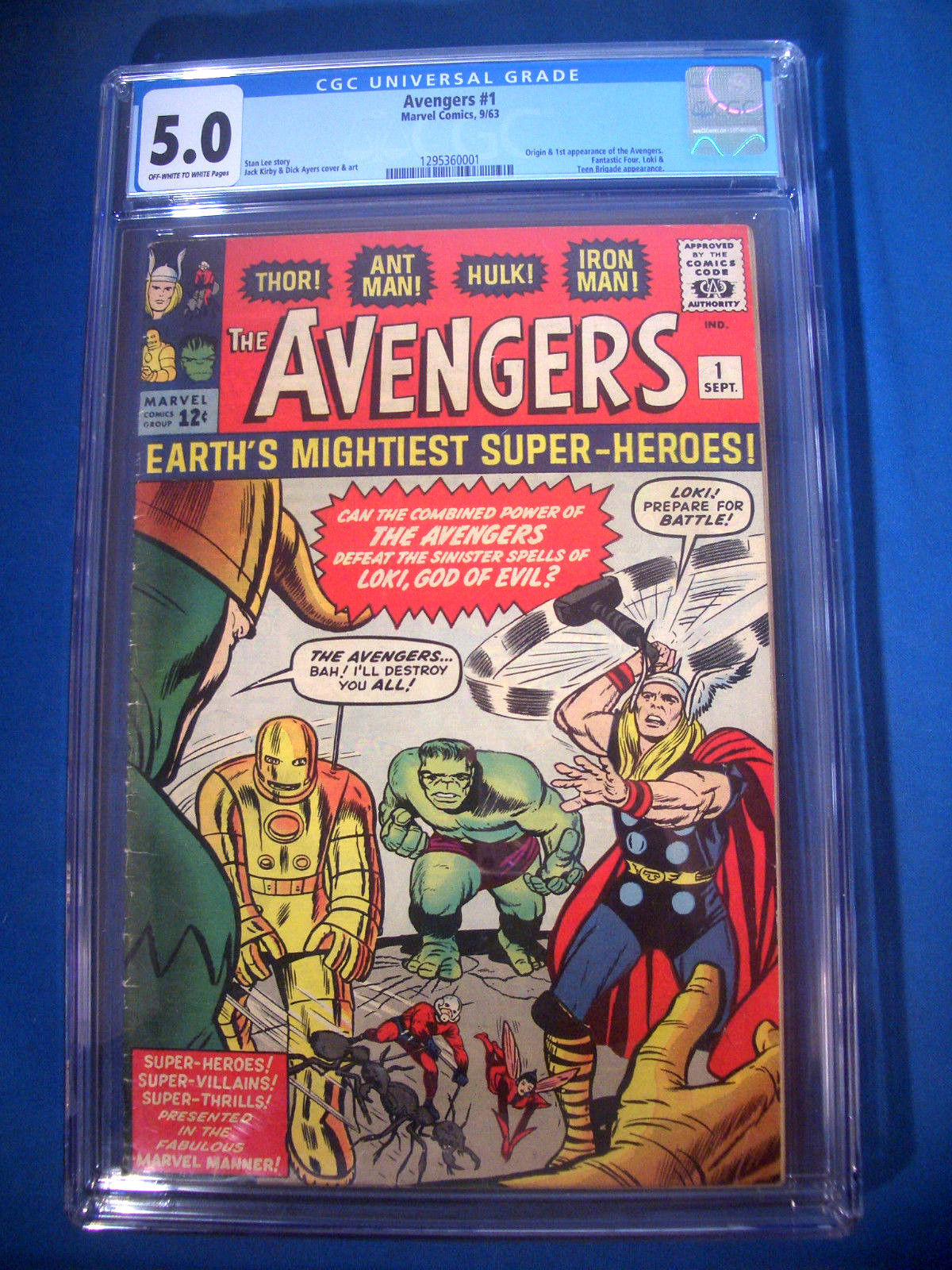 1963 * The AVENGERS #1 * Marvel Comics CGC 5.0 VG/FN Rare WHITE Pages ORIGIN 1st