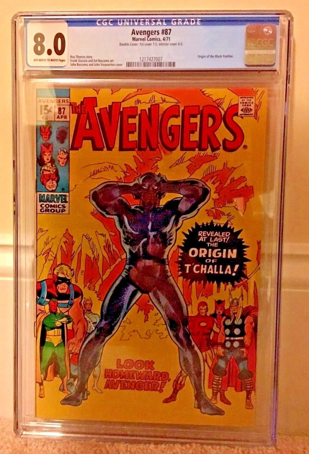 Avengers 87 CGC 8.0 DOUBLE COVER RARE OW/W Origin Black Panther #1 Movie KEY