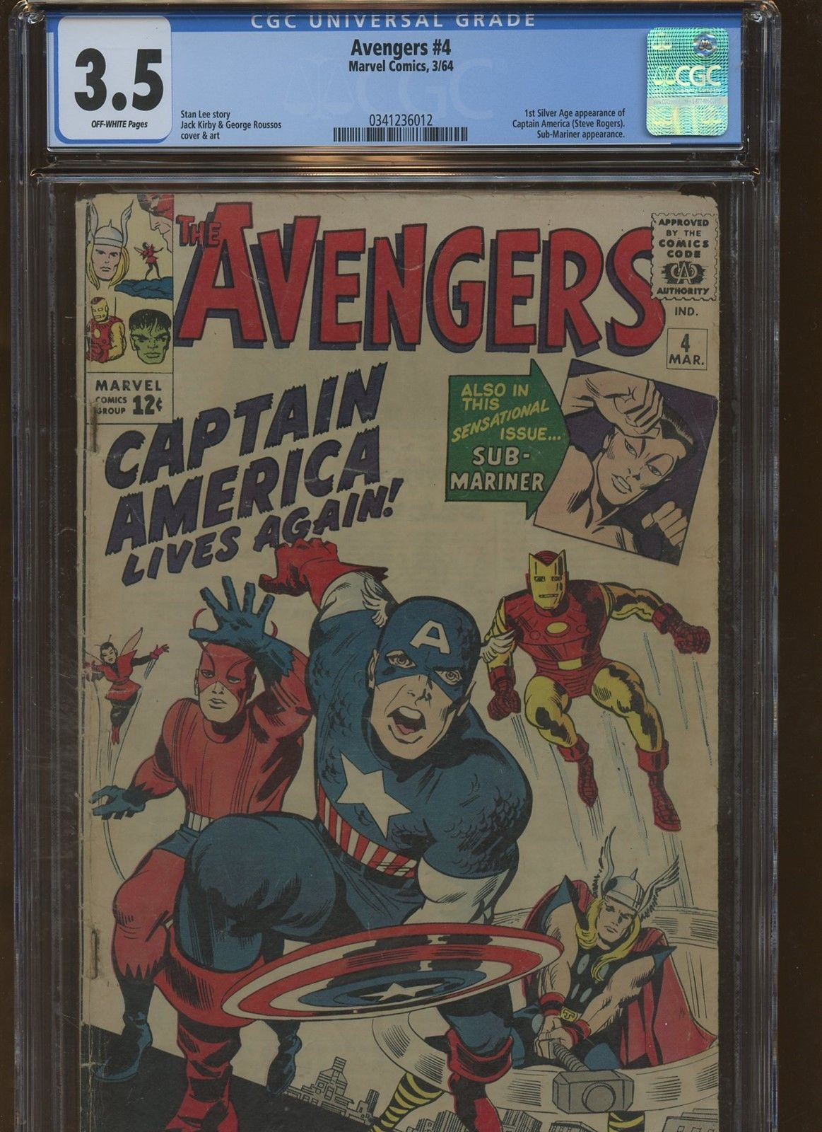 Avengers 4 CGC 3.5| Marvel 1964 | 1st Silver Age Captain America Appearance