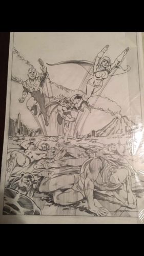 All Star Comics 58 Cover Recreation (Power Girl's 1st app) by Mike Grell OA