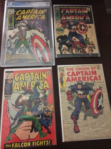Captain America Silver Age LOT Issues #100, 109, #113 (5.5) #117 (7.0) And 118