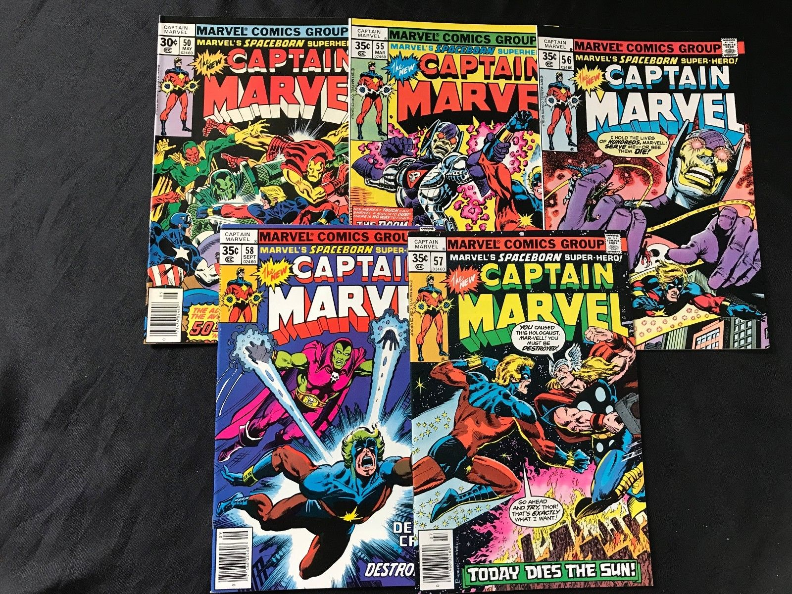 LOT OF 5 CAPTAIN MARVEL COMIC BOOKS #50 #55 #56 #57 #58
