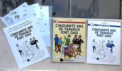 Tintin Cinquante ans de travaux fort gais + Dossier de Presse + pochette Hergé