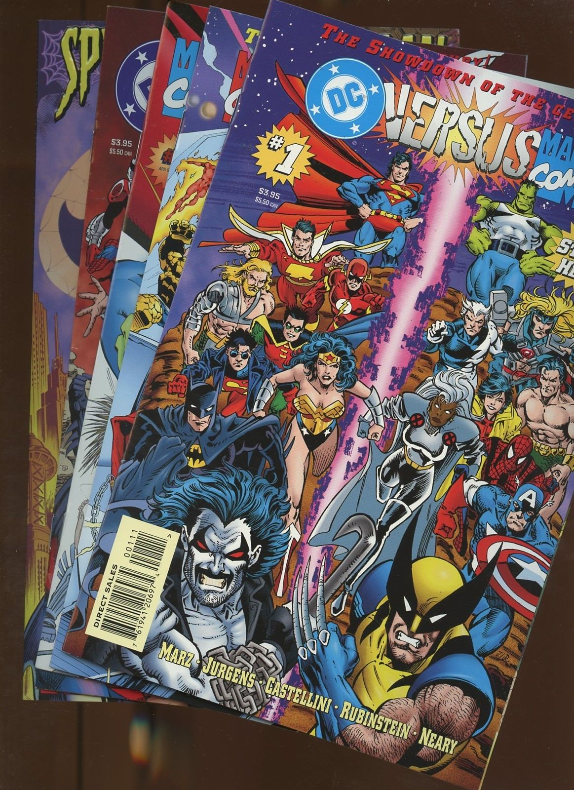 DC Versus Marvel/Marvel Versus DC 1,2,3,4 Spider-Man and Batman   5 Book Lot *