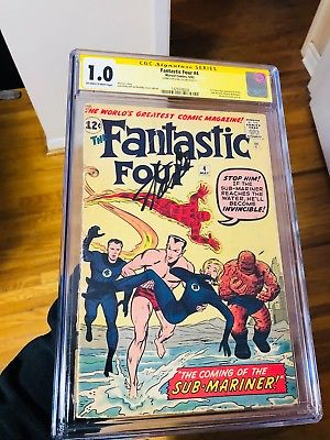Fantastic Four #4 CGC 1.0 - 1st Appearance of NAMOR Signed Stan LEE