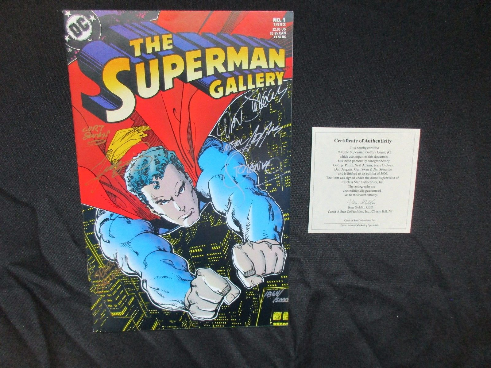 DC SUPERMAN GALLERY # 1 SIGNED X 6 WITH CERT NEAL ADAMS STERANKO PEREZ 1/5000