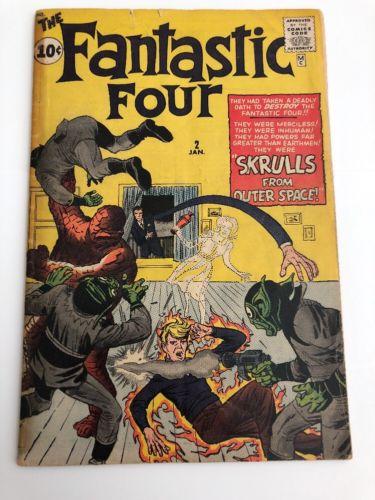 FANTASTIC FOUR #2 first skrulls app 1962 KIRBY Nice Low Grade Copy Marvel Comics