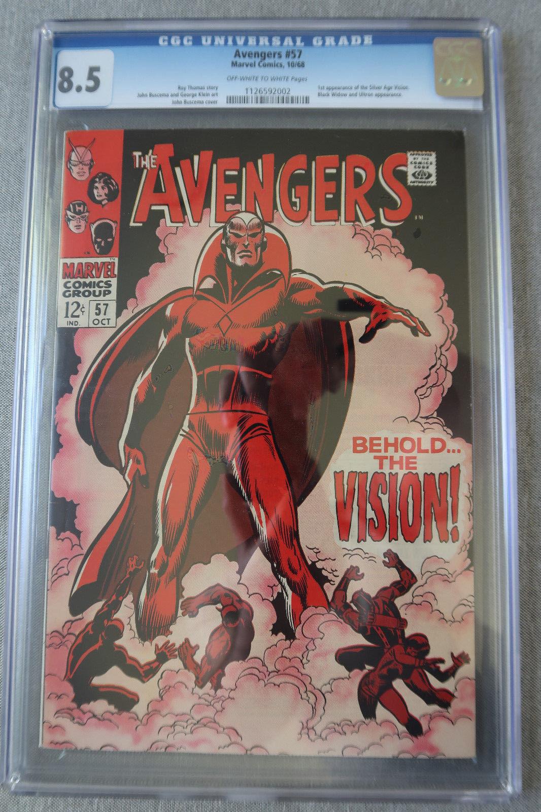 Avengers #57 CGC 8.5 1st Vision (Oct 1968, Marvel) Avengers Iron Captain Hulk