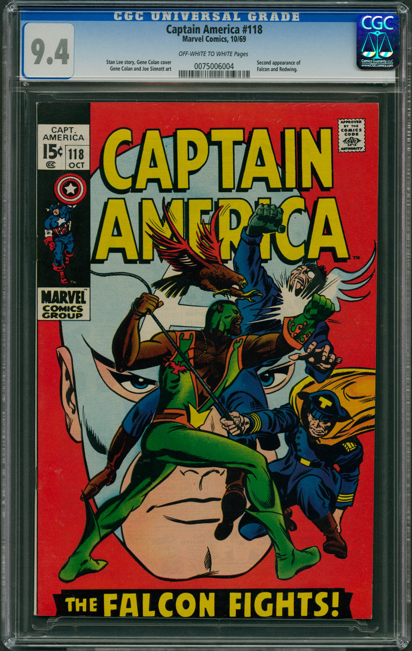 Captain America #118 CGC 9.4 - Off-White to White Pages (2nd App. of FALCON)